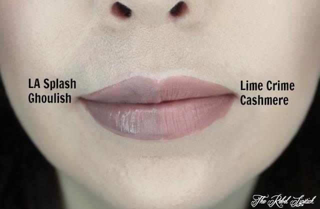 LA Splash Lip Couture versus Lime Crime Velvetines Lips