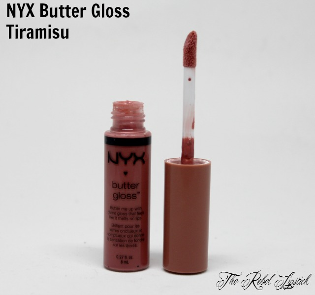 NYX Butter Gloss 07 Tiramisu The Rebel Lipstick The Glamour Nazi Irish Beauty Blog Blogger Photo Swatch Swatches Photos