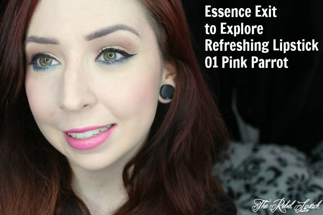 Essence Exit to Explore Trend Edition Refreshing Lipstick 01 Pink Parrot full face