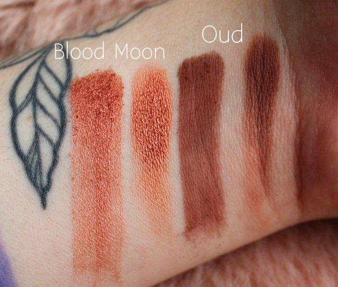 Huda Beauty Desert Dusk Eyeshadow Palette 3 Blood Moon Oud Swatch