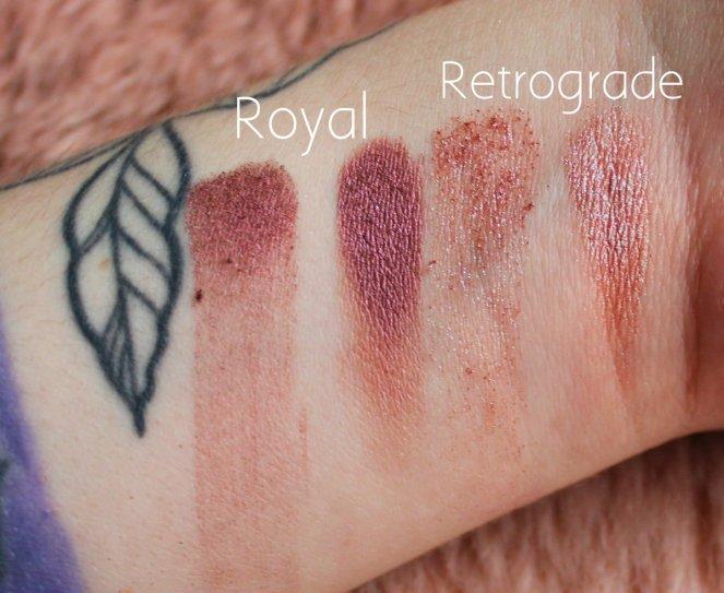 Huda Beauty Desert Dusk Eyeshadow Palette 6 Royal Retrograde Swatch