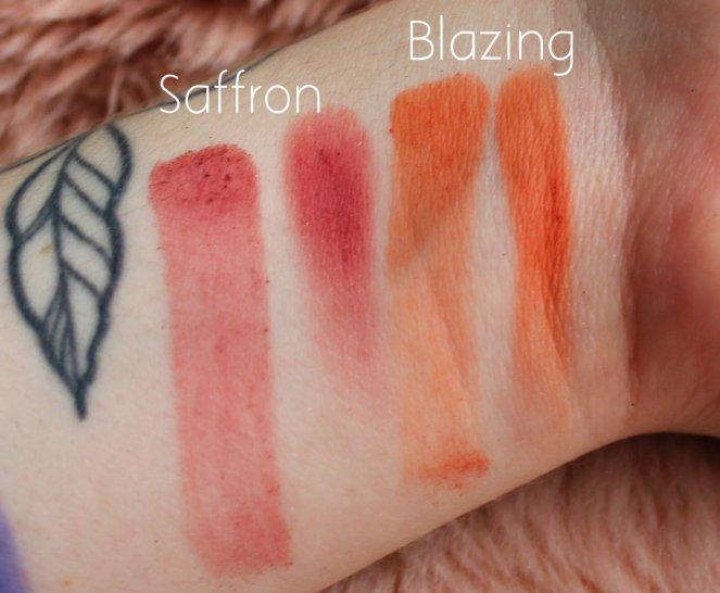 Huda Beauty Desert Dusk Eyeshadow Palette 9 Saffron Blazing Swatch