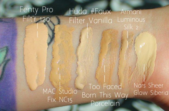 Fenty Beauty Pro'Filter Foundation Colour Comparison