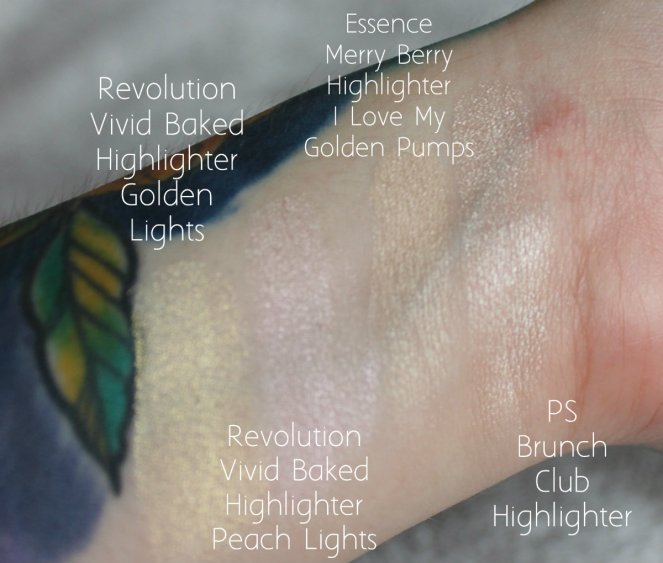 Highlighter Getting Rid Revolution Vivid Baked Golden Peach Lights PS Brunch Club Essence Merry Berry I Love My Golden Pumps