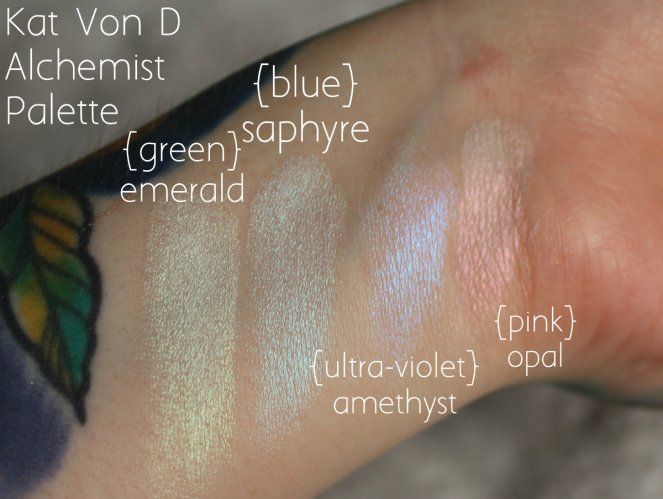 Highlighter Keeping Kat Von D Alchemist Holographic Palette Green Emerald Blue Saphyre Ultra Violet Amethyst Pink Opal